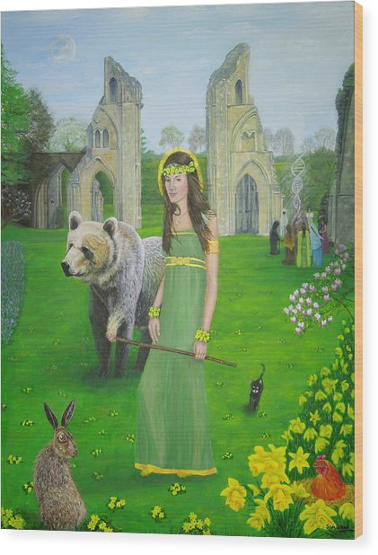 Mother Of Fire Goddess Artha - Spring Equinox Wood Print