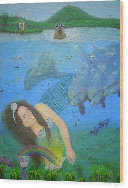Mother Of Water Goddess Domnu - Summer Solstice Wood Print