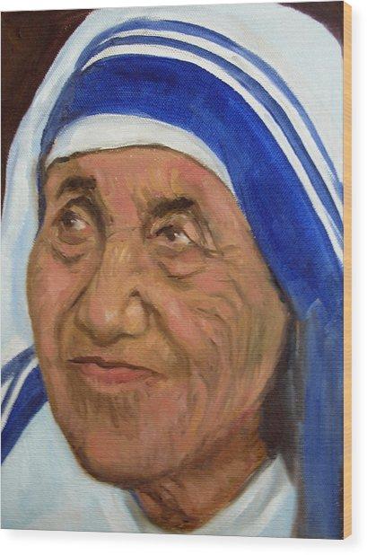 Mother Theresa Wood Print