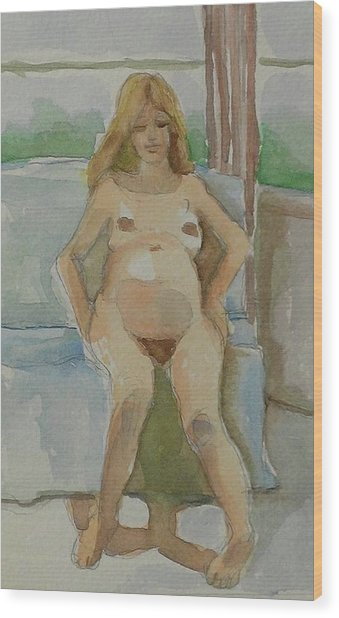 Mother-to-be Wood Print by Janet Butler