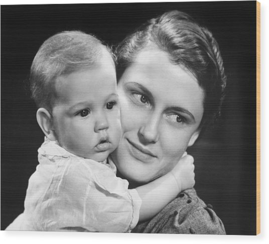 Mother With Baby Girl (9-12 Months) Posing In Studio, (b&w), Portrait Wood Print by George Marks