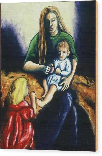 Mother With Children Wood Print by Helen O Hara