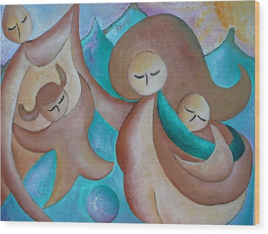 Motherhood Family Oil Painting Us Today Original By Gioia Albano Wood Print