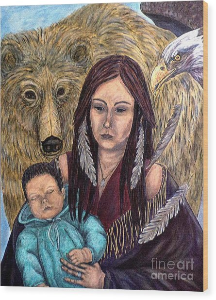 Motherhood-guardian Spirits Wood Print