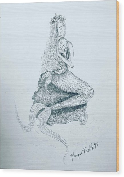 Motherhood Mermaid Wood Print