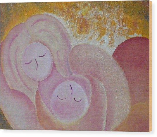 Motherhood Oil Painting Sweet Sleeping Original By Gioia Albano Wood Print