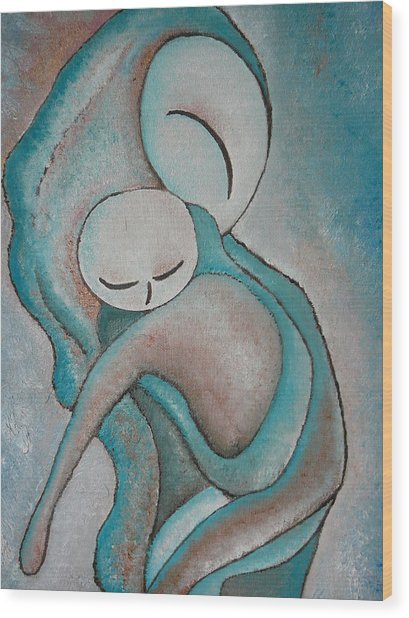 Motherhood Painting My Baby Original Oil By Gioia Albano Wood Print