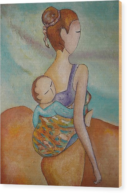 Motherhood Painting Walking With You Original Oil By Gioia Albano Wood Print