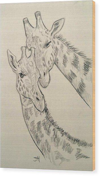 Wood Print featuring the drawing Motherly Knudge by Jennifer Hotai