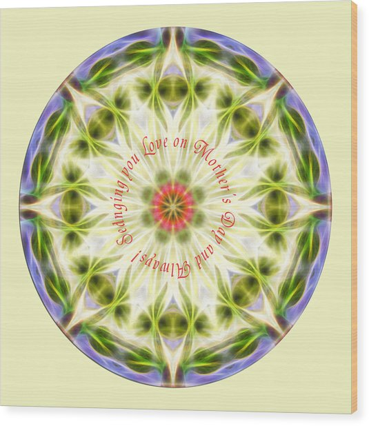 Mother's Day Mandala 1 Wood Print