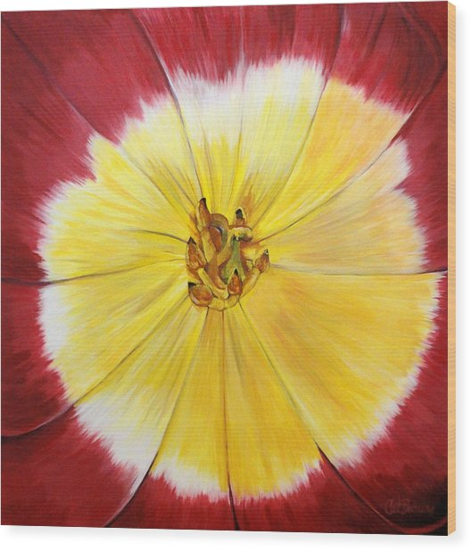 Mothers Day Tulip Face Wood Print by Catalina Decaire