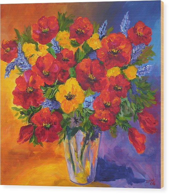 Mothers Spring Flowers Wood Print by Mary Jo Zorad