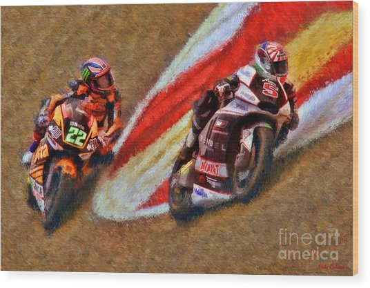 Moto2 Johann Zarco Leads Sam Lowes Wood Print