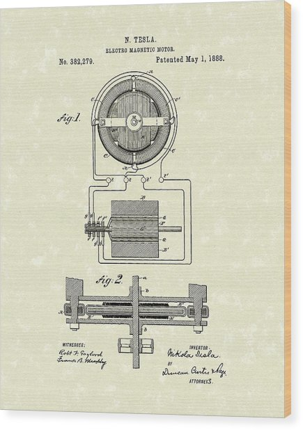 Motor 1888 Patent Art Wood Print