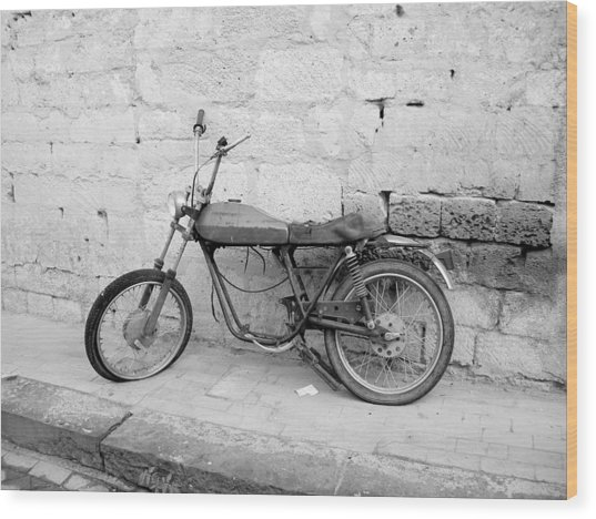Motor Bike With Flat Tire Wood Print