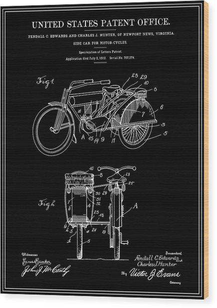 Motorcycle Sidecar Patent 1912 - Black Wood Print by Finlay McNevin