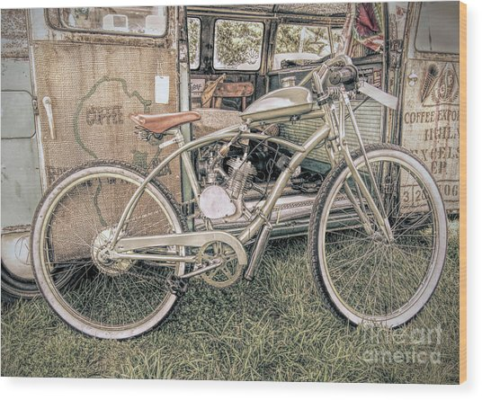 Motorized Bike Wood Print