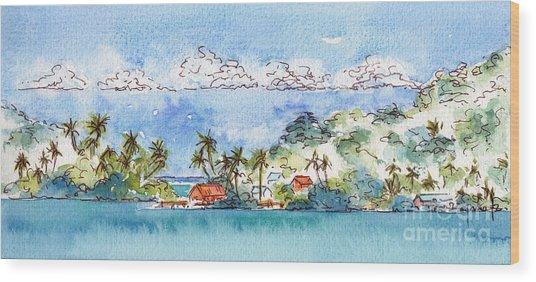 Motu Toopua Bora Bora Wood Print