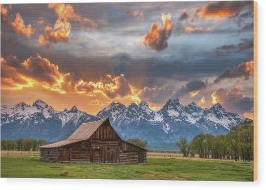Moulton Barn Sunset Fire Wood Print