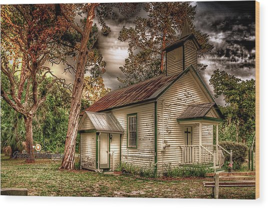 Moultrie Church At Dusk Wood Print