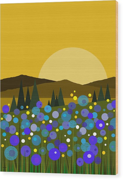 Mountain Meadow Sunrise And  Bluebells Wood Print