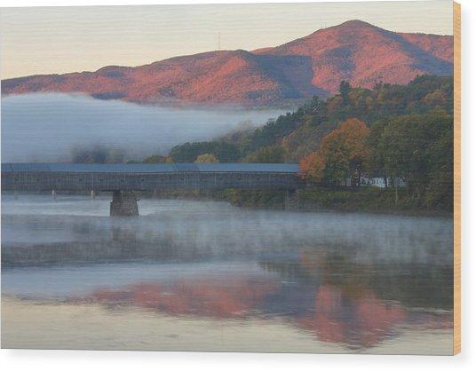Mount Ascutney And Windsor Cornish Bridge Sunrise Fog Wood Print
