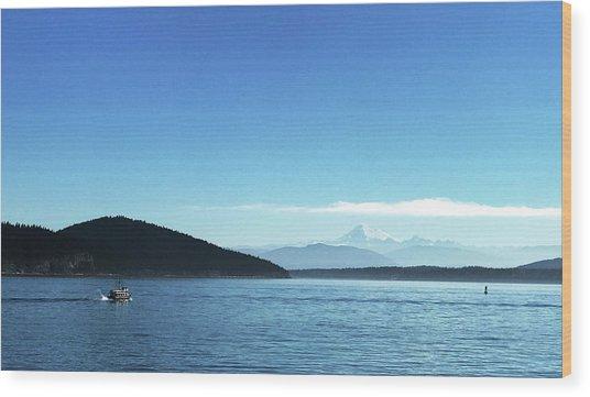 Wood Print featuring the photograph Mount Baker Looms by Lorraine Devon Wilke
