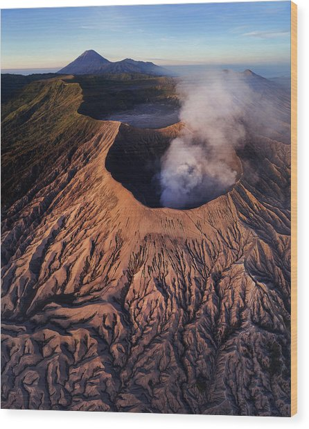 Mount Bromo At Sunrise Wood Print
