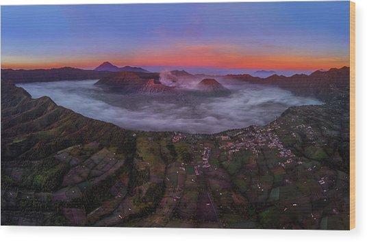 Mount Bromo Misty Sunrise Wood Print
