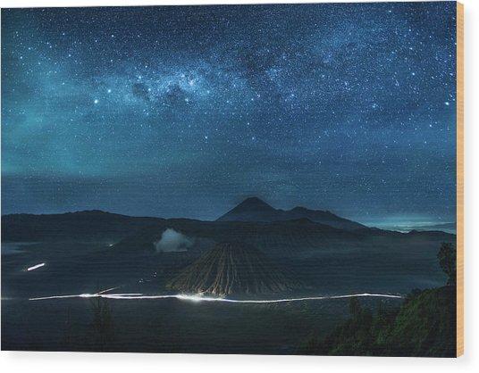 Mount Bromo Resting Under Million Stars Wood Print