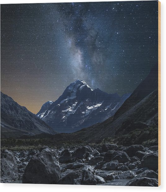 Mount Cook At Night Wood Print