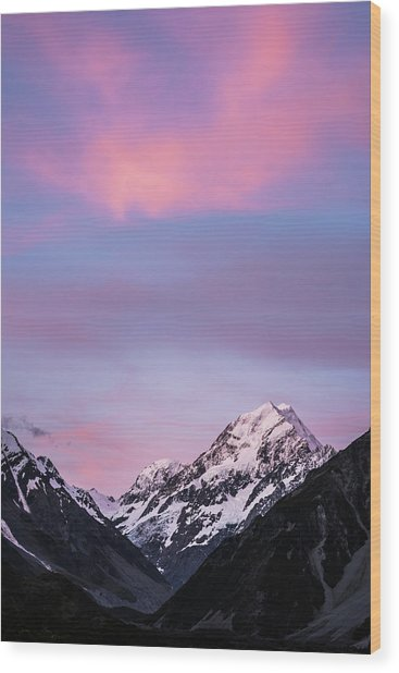 Mount Cook Sunset Wood Print