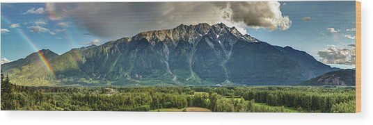 Wood Print featuring the photograph Mount Currie In The Enchanting Pemberton Valley With Double Rainbow by Pierre Leclerc Photography