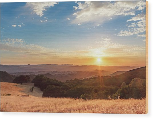 Mount Diablo Sunset Wood Print