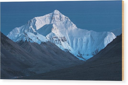 Mount Everest At Blue Hour, Rongbuk, 2007 Wood Print