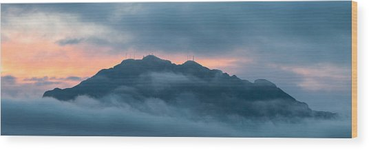 Mount Franklin Stormy Winter Sunset Pano Wood Print