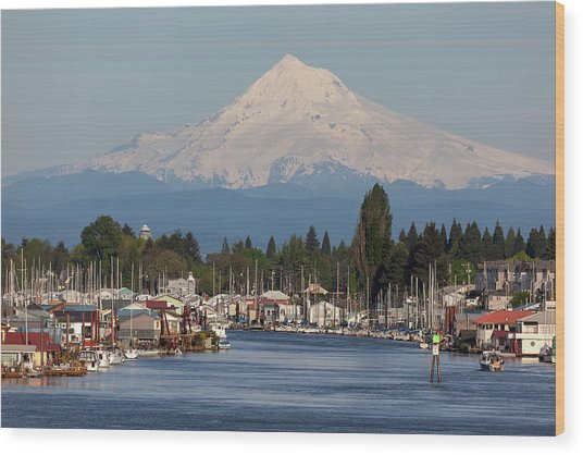 Mount Hood And Columbia River House Boats Wood Print
