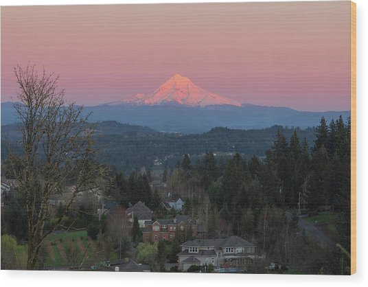 Mount Hood Over Happy Valley Oregon Wood Print