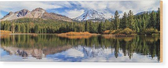 Mount Lassen Reflections Panorama Wood Print