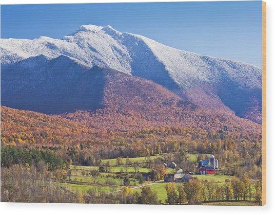 Mount Mansfield Autumn Snowfall Wood Print