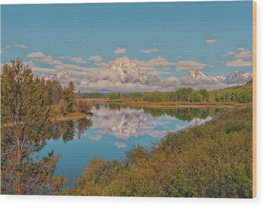 Mount Moran On Oxbow Bend Wood Print