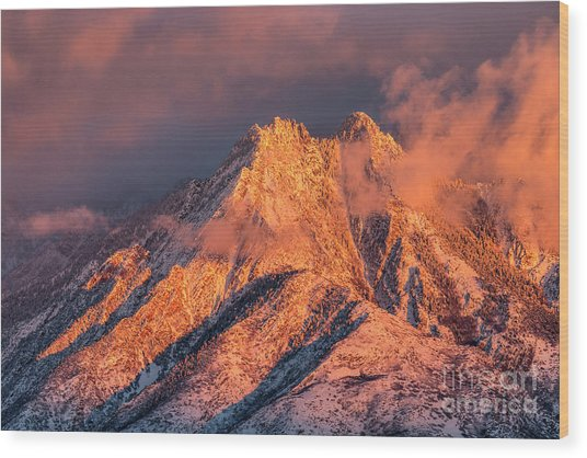 Wood Print featuring the photograph Mount Olympus Winter Sunset by Spencer Baugh