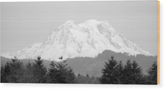 Mount Rainier Black And White Wood Print by Laurie Kidd