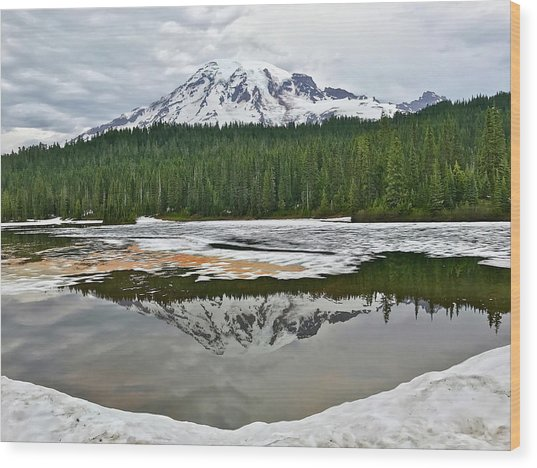 Mount Rainier From Reflection Lakes Wood Print