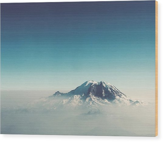 An Aerial View Of Mount Rainier Wood Print