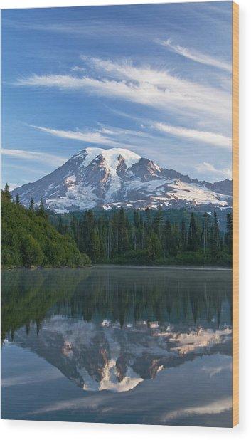 Mount Rainier Reflections Wood Print