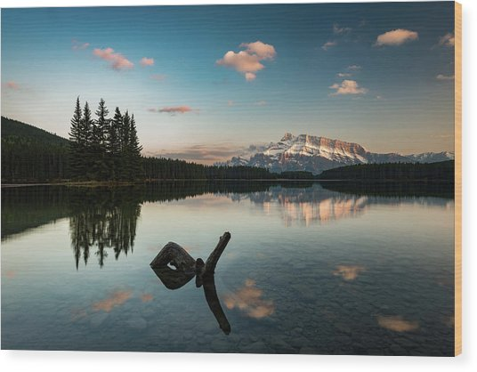 Mount Rundle And Two Jack Lake Wood Print