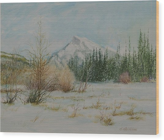 Mount Rundle In Winter Wood Print