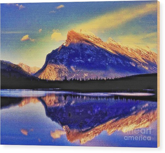 Mount Rundle Reflection Wood Print by Lyle  Huisken