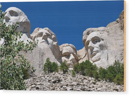 Mount Rushmore Close Up View Wood Print